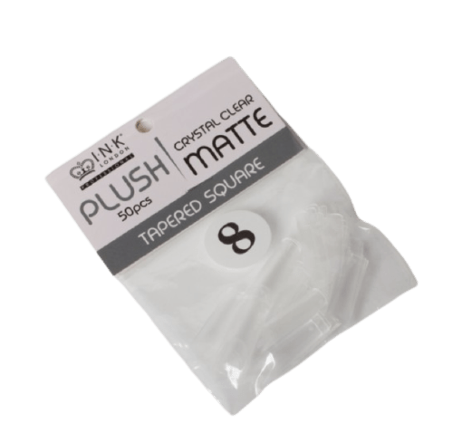 Plush Tips Refill Tapered Square Crystal Clear Matte 8