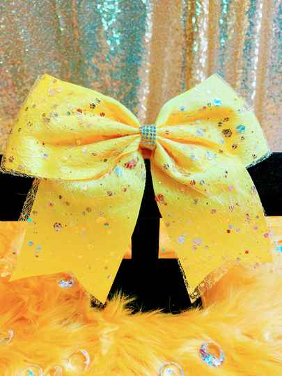 Yellow Speckled Buzzing Hair Bow