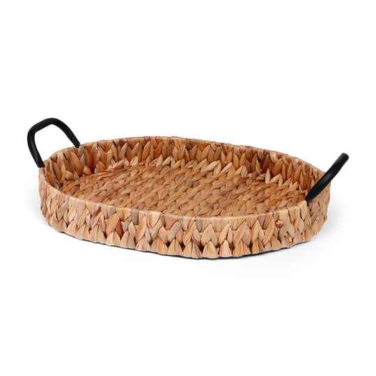 Oval hyacinth tray with handels - SMALL