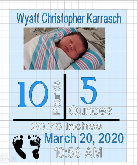 Birth Announcement with Foot Print