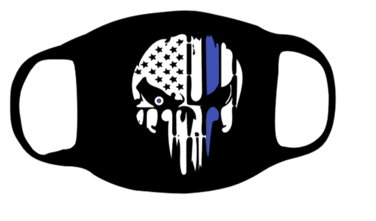 Punisher Skull with Thin Blue line Face Mask