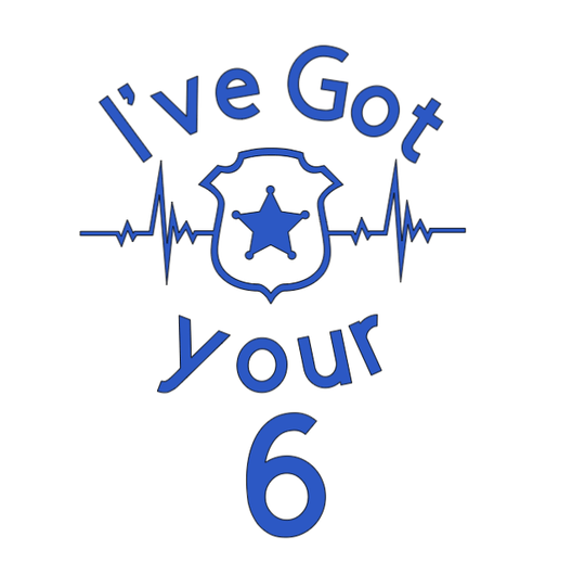 Ive got your 6 heart beat car decal