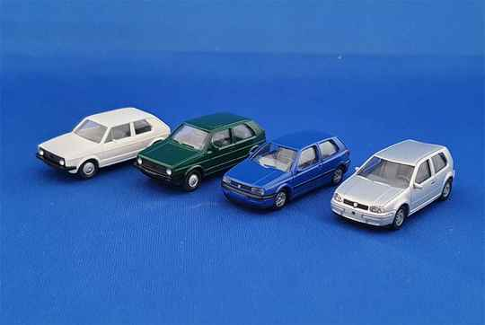 Wiking - Generation Golf VW Volkswagen 4 cars (1501)