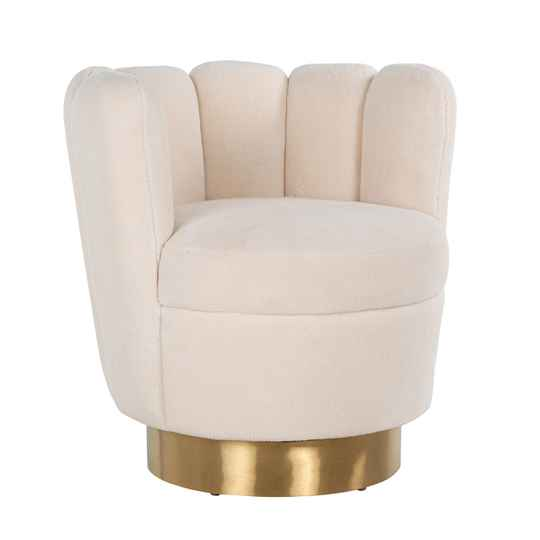 Fauteuil Mayfair White teddy / Brushed gold | Richmond Interiors