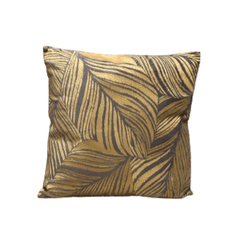 Cushion Leaves Taupe-Mustard 50x50