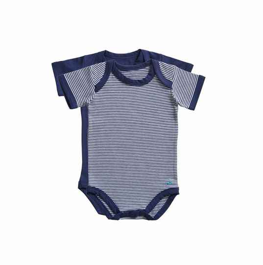 Ten Cate Basic baby romper Stripe and blue 2-pack