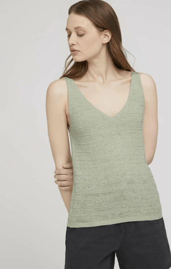 Structured knitted top denim female