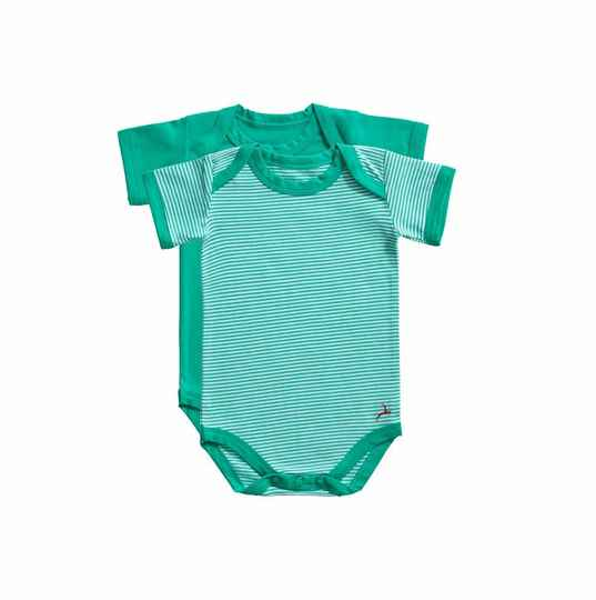 Ten Cate Basic baby romper Stripe and mint 2-pack