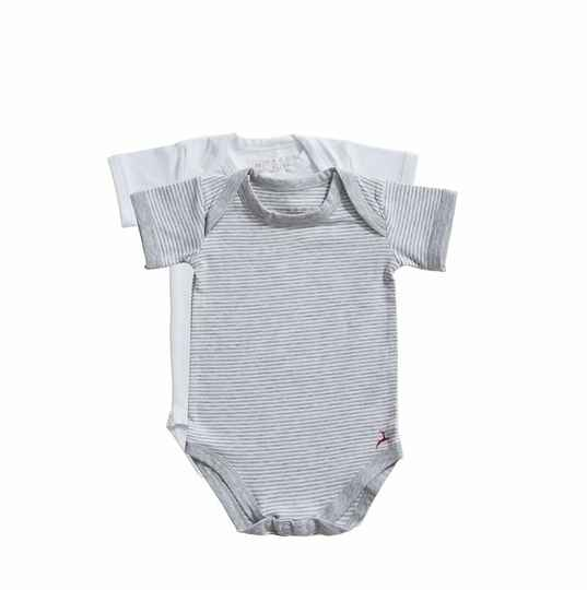 Ten Cate Basic Baby romper stripe and white 2-pack