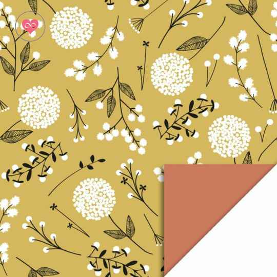 Cadeaupapier | Flowers Big - Yellow / Warm Red | House of Products | Dubbelzijdig