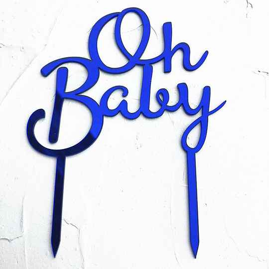"""""""Oh Baby"""" Topper Blauw"""
