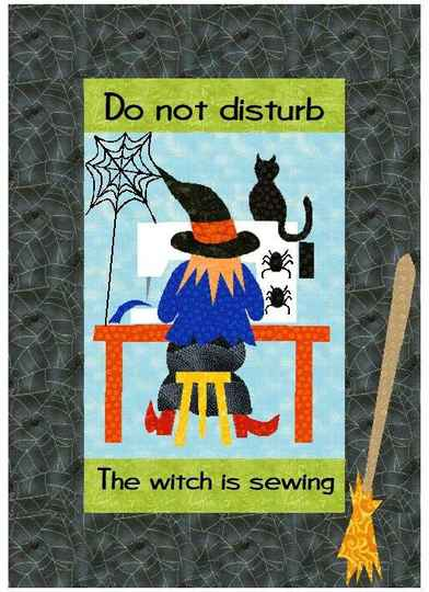 The witch is sewing