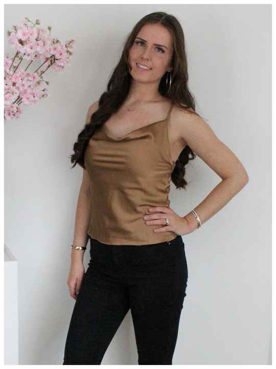 Cindy satijn top beige