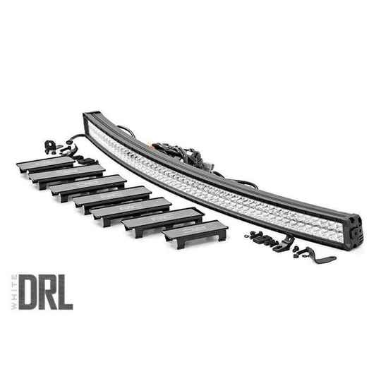 137cm Curved Cree LED Light Bar Dual Row Chrome Series with Cool White DRL Rough Country