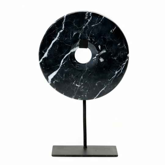 The Marble Disc on Stand - Black - L