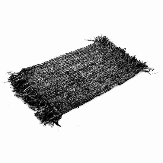 the Fringe Raffia Placemat Rectangular - Black
