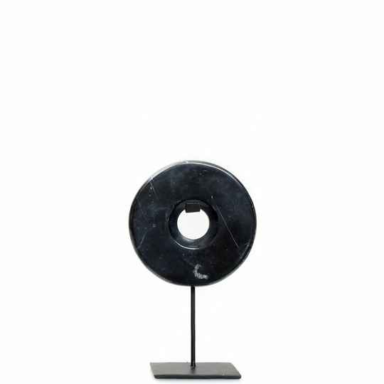The Marble Disc on Stand - Black - S