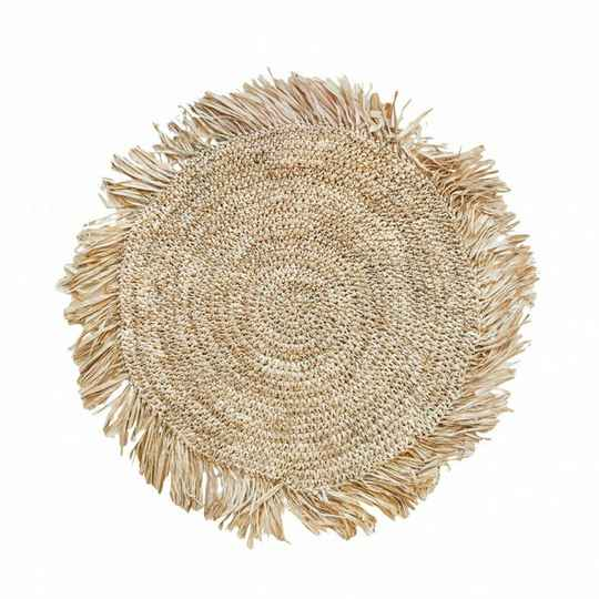 The Fringe Raffia Placemat Round - Natural