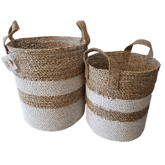 Riviera round basket seagrass S/2 handle jute