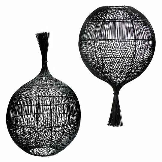 The Rattan Wonton Floor Lamp - Pendant - Black