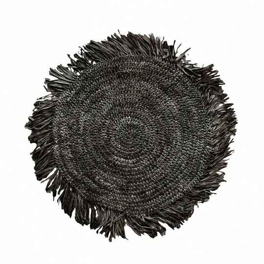 The Fringe Raffia Placemat Round - Black