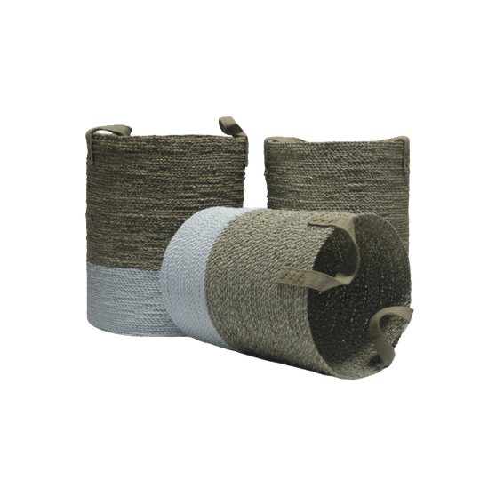 Bonita round basket seagrass S/3 handle jute