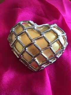Gilt Heart Shaped Brooch with Silver Coloured Detail