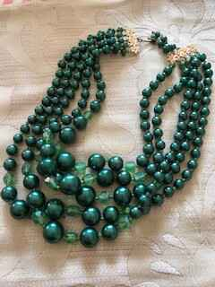 Green 1950s 5 String Pearl and Crystal Necklace