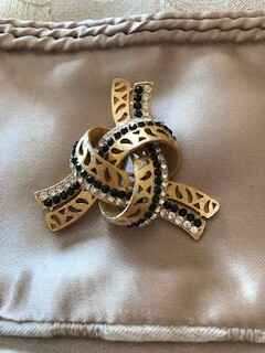 60s Gilt, Diamante and Jet Knot Brooch
