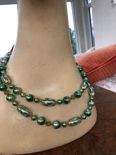Gorgeous 2 String Green Pearls with Brass detailing