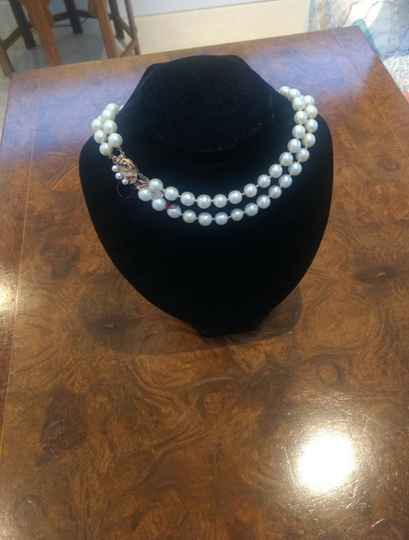 2 String Pearl Necklace with Gilt & Pearl Clasp