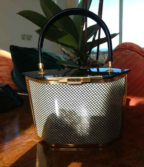 Black, Brass and Check Lucite 1950s Top Handle Bag