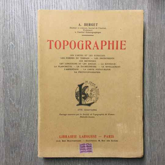Topographie - A. Berget - 1929