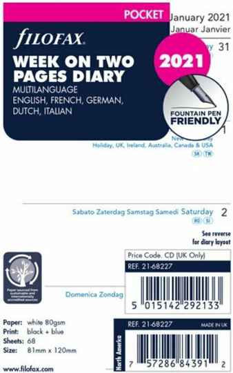 Agendavulling Filofax Pocket 2021 Week on Two Pages