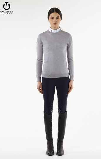 Cavalleria Toscana Tech Wool Fully Fashioned Crew Neck Sweater Grijs