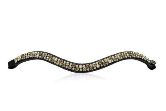 Judi Frontriem - Browband Crystal Fabric II Odessa Double Colorado Gold *