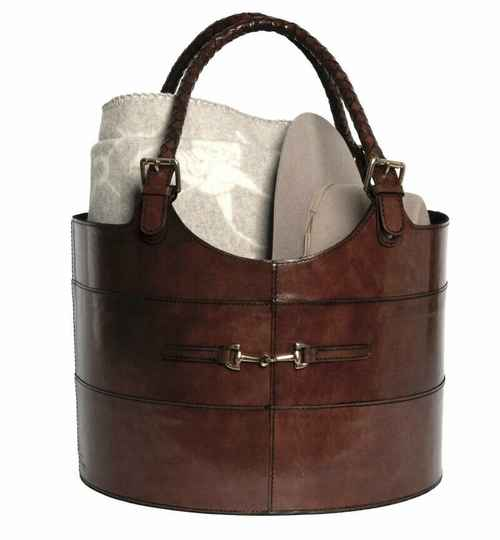 Adamsbro Round Leather Bag in Brown  **
