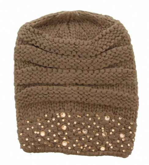 Beanie Bruin-Taupe Crystals