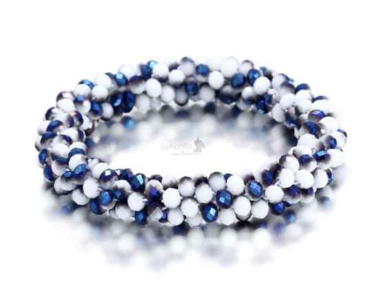 Hair Jewel Shiny Blue and White