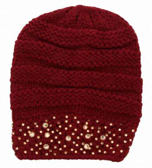 Beanie Rood-Bordeaux Crystals