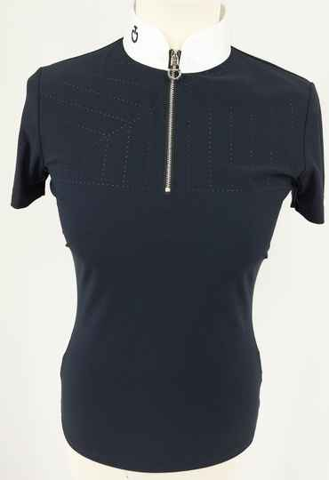 Cavalleria Toscane Perforated Sailing Jersey Competition Polo W/Front Zip**