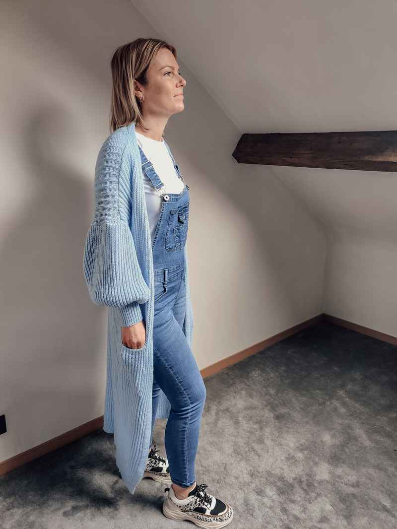Long Knitted Cardigan Blue
