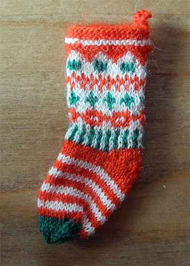 Kerstsok met motieven - Christmas stocking with patterns