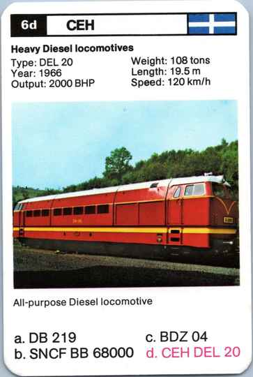 Top Trumps Locomotives - CEH DEL 20 - (Art.Nr.27)