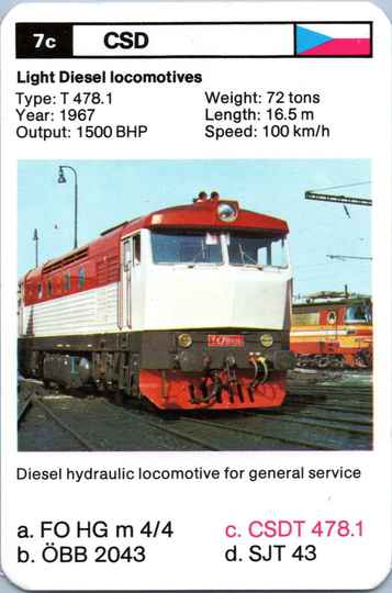 Top Trumps Locomotives - CSDT 478.1 - (Art.Nr.23)
