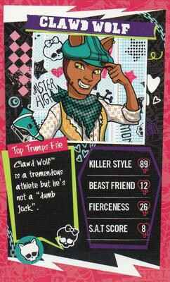 Mini Top Trumps Monster High  - Clawd Wolf  - (Art.Nr.48)