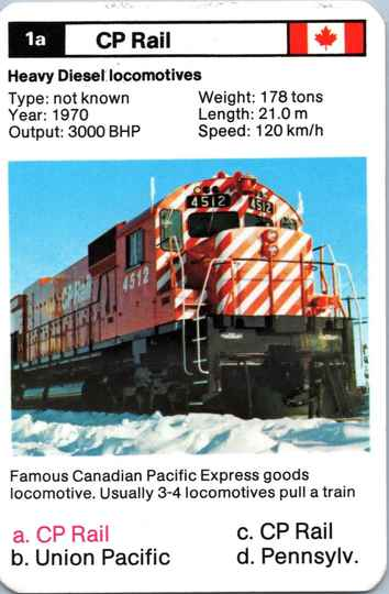 Top Trumps Locomotives - CP Rail - (Art.Nr.26)