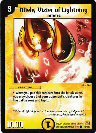 Duel Masters Miele, Vizier of Lightning 13/110 Mint and Never Played