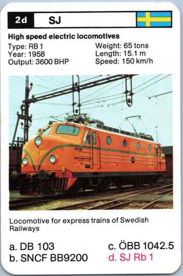 Top Trumps Locomotives - SJ Rb 1 - (Art.Nr.9)