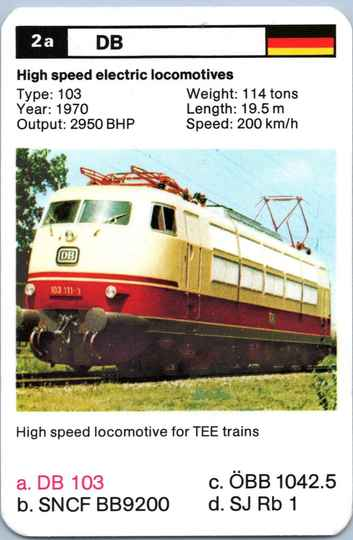 Top Trumps Locomotives - DB 103 - (Art.Nr.18)